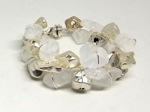 shiny silver/frost nugget cuff sw