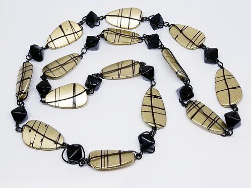 Gold Stripe Oval/Black bw