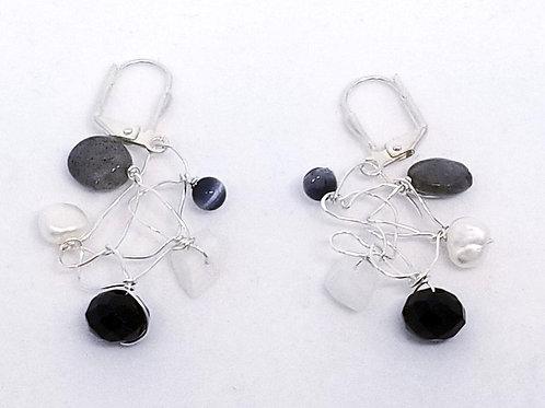 black white winter gem web earring sw