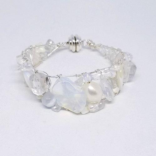 white ab clear gem cuff bracelet sw