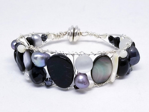 black white winter cuff bracelet sw