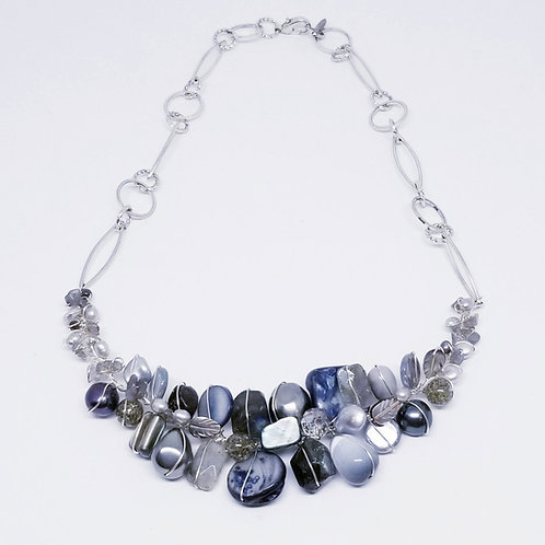 grey gem section necklace sw