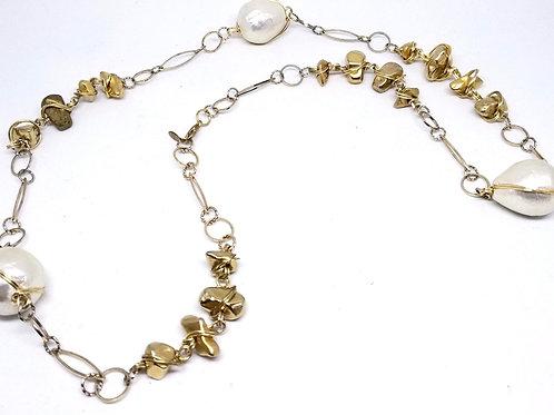Shiny gold nugget/white cotton long nk gw