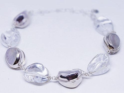 Clear/Silver Walnut Necklace sw
