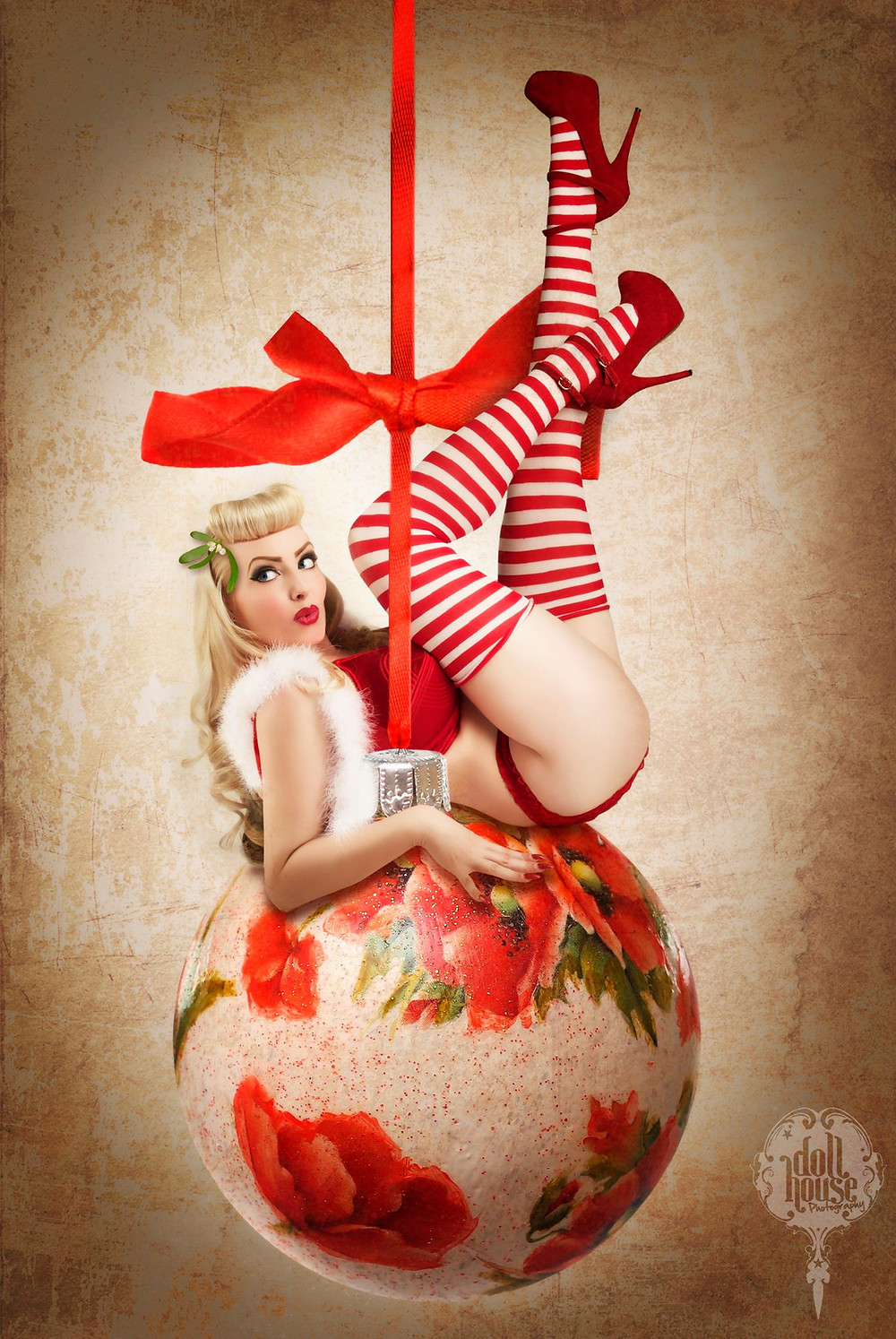 October Divine Christmas Pinup by DollHouse Photography