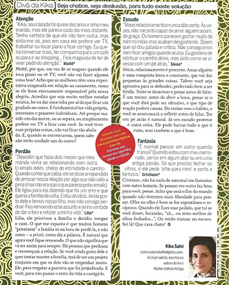 Column Kika's Divan by the writer Kika Salvi at revista Criativa