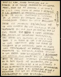 Carta de Fernando Barcenas desde el Reclusorio Norte