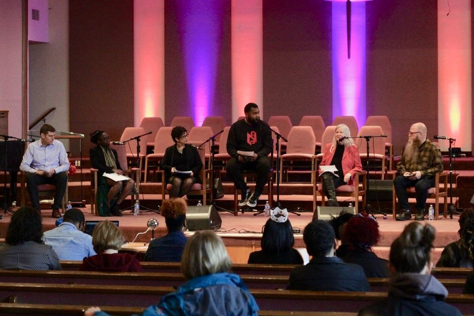 From right to left: Andrew Scott, Shanice Clarke, Michelle DePass, Sam Thompson, Deb Royal and Robert Schultz were the main speakers at a forum for Portland school board candidates at Maranatha Church Saturday. Thompson moderated the event, while the other five answered questions from the audience.