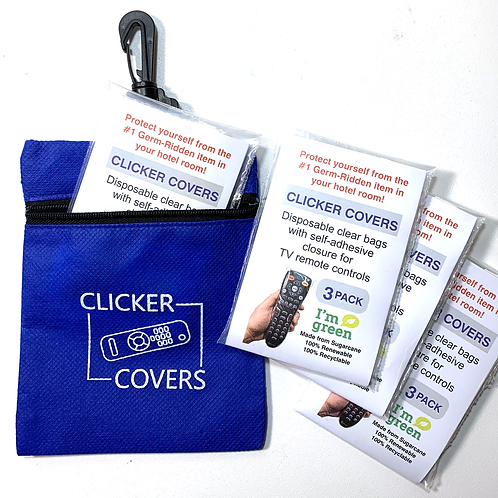 Germ Protection from Remote Controls - 12 Clicker Cover Bags and Blue Case