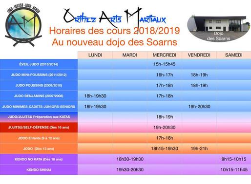 Inscriptions 2018-2019, horaires des cours