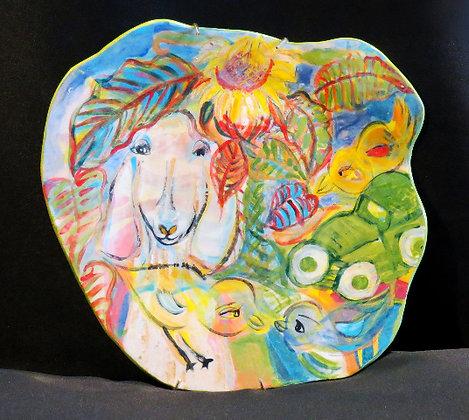 """Goat / Car Dinner Plate 9""""x10"""""""
