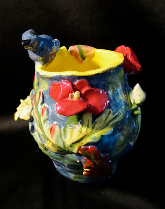"Blue Bird Happiness Vase 7""wx 10""h"