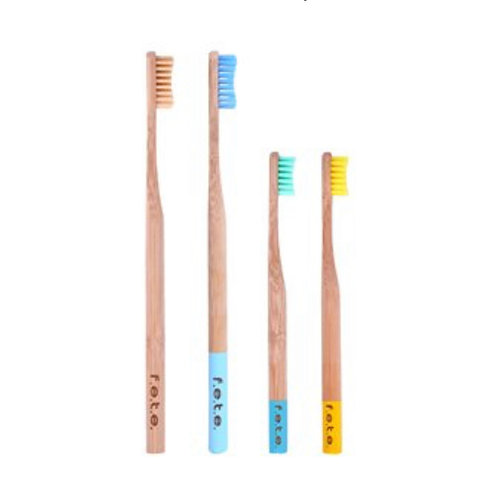 Bamboo Toothbrush Family Pack 2 Adults, 2 Kids