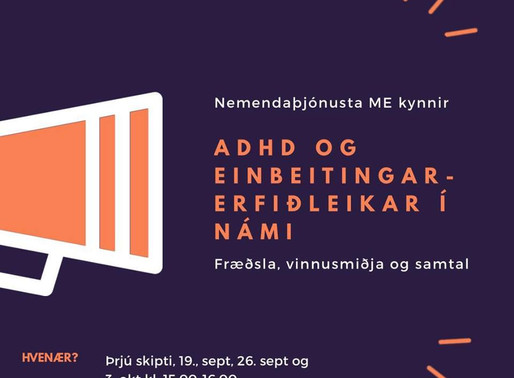 ADHD smiðja fer í gang á morgun, miðvikudag!