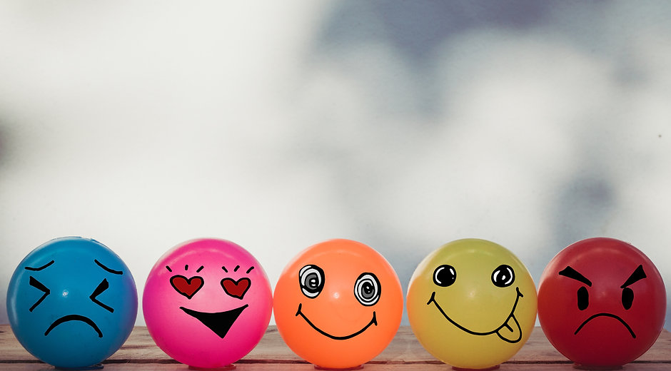 Smiley balls and Emotion balls on wooden