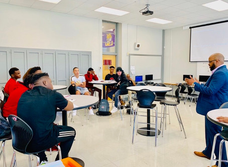 Dowand Malone and Stephen Gill teamed up today for the Z-Factor Leadership session at Deshler High.