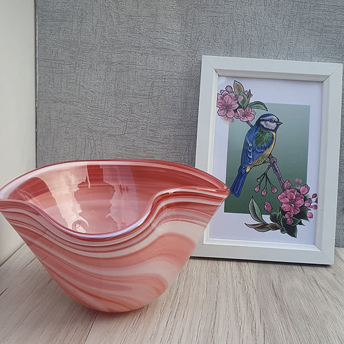 Red and white wavey bowl