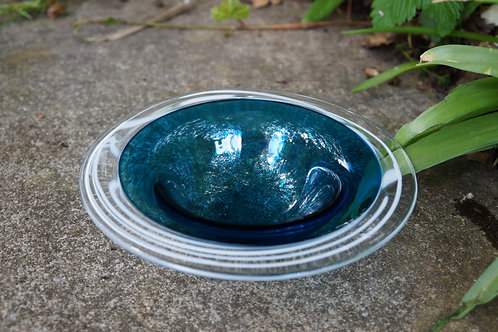 Small Turkish Blue Incalmo Bowl with Stringers