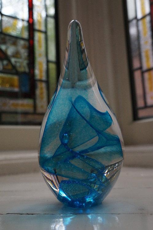 Blue Swirl Teardrop Paperweights