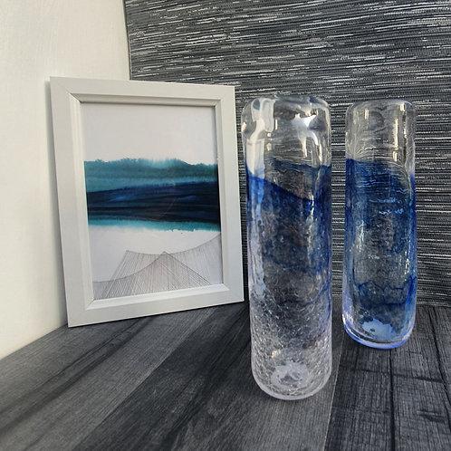 Blue Crackle Single Vase