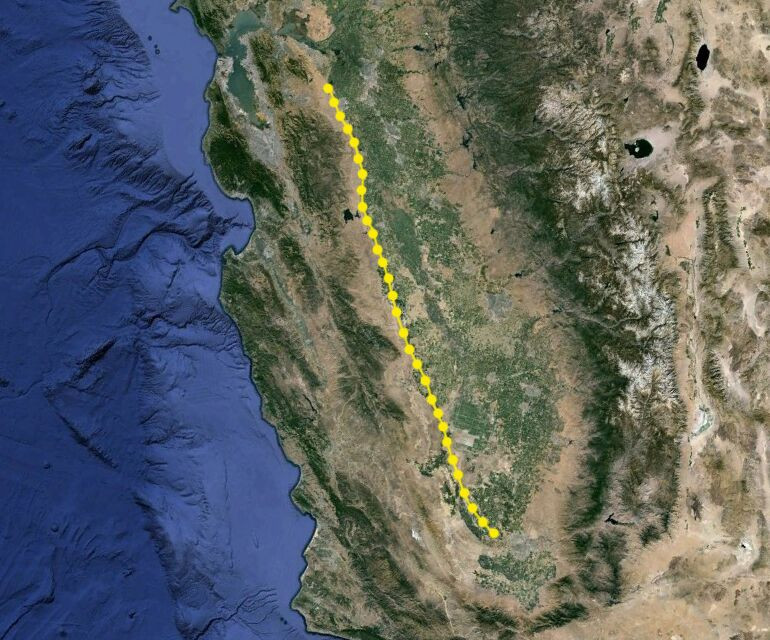 Map showing trip route and locations where each new glass plates was attached to the vehicle.