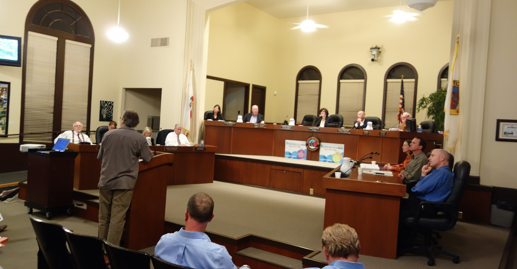 City council meeting presenting art and bioremediation ideas. The political process was an important part of the piece.