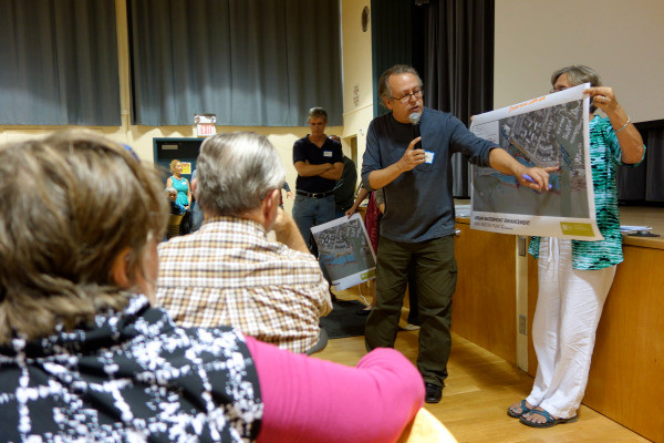 Comunity meeting discussing art and design in the waterfront area.