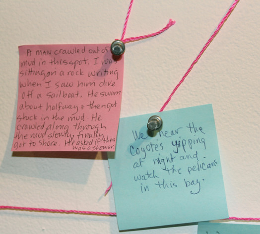Detail of installation from solo exhibit at Arts Benicia showing interactive memory map.