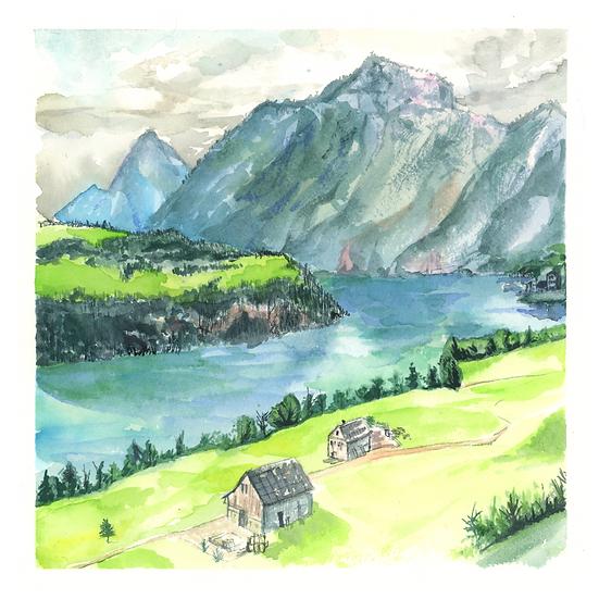 Lake and Mountains Print