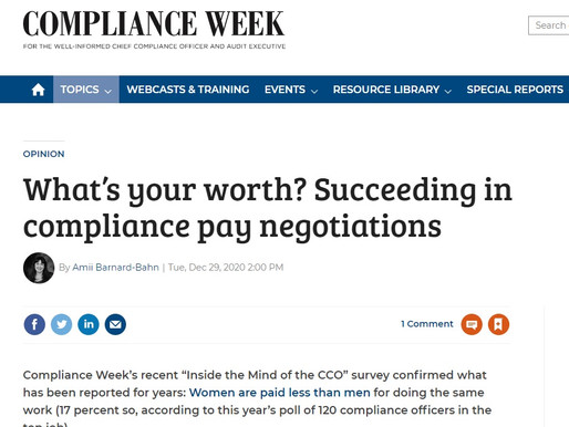 What's your worth? Compliance Week Article