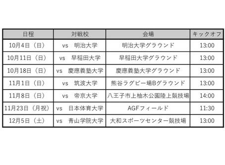 関東大学対抗戦グループA試合日程のお知らせ