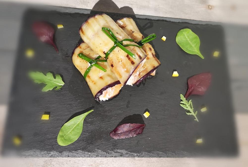 Keto Eggplant rolls with cream cheese, smoked salmon and tuna