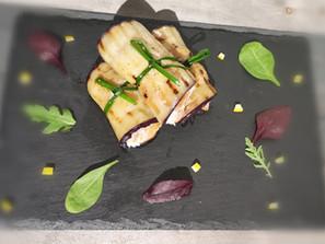 Eggplant rolls with cream cheese, tuna, and smoked salmon