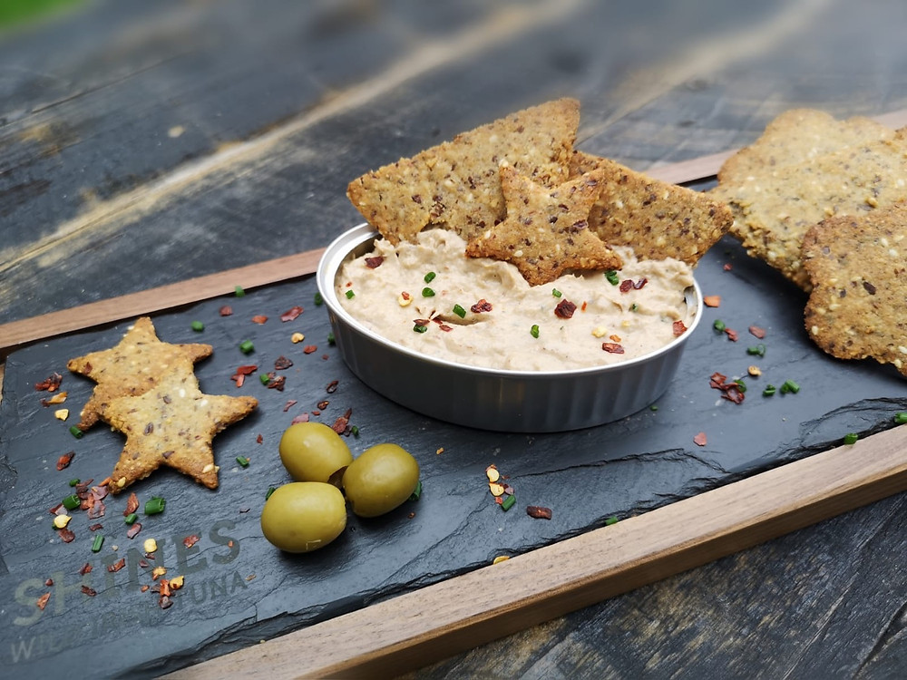 Low carb keto crackers and sardine rillettes spread