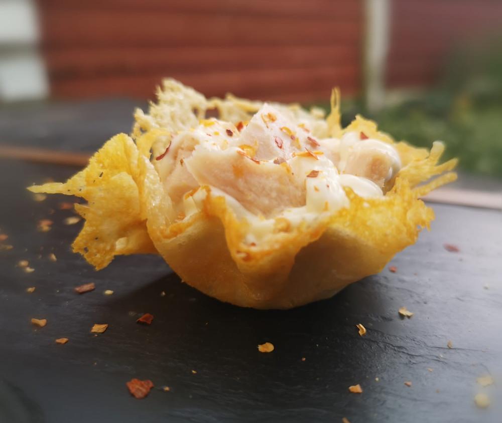 Keto crunchy Parmesan baskets with tuna and mayonnaise
