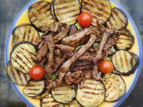 Skillet grilled eggplant and beef strips