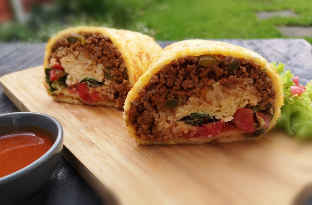 Keto beef burrito in homemade cheese wrap