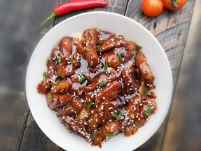 Pork tenderloin strips in sweet chilli sauce