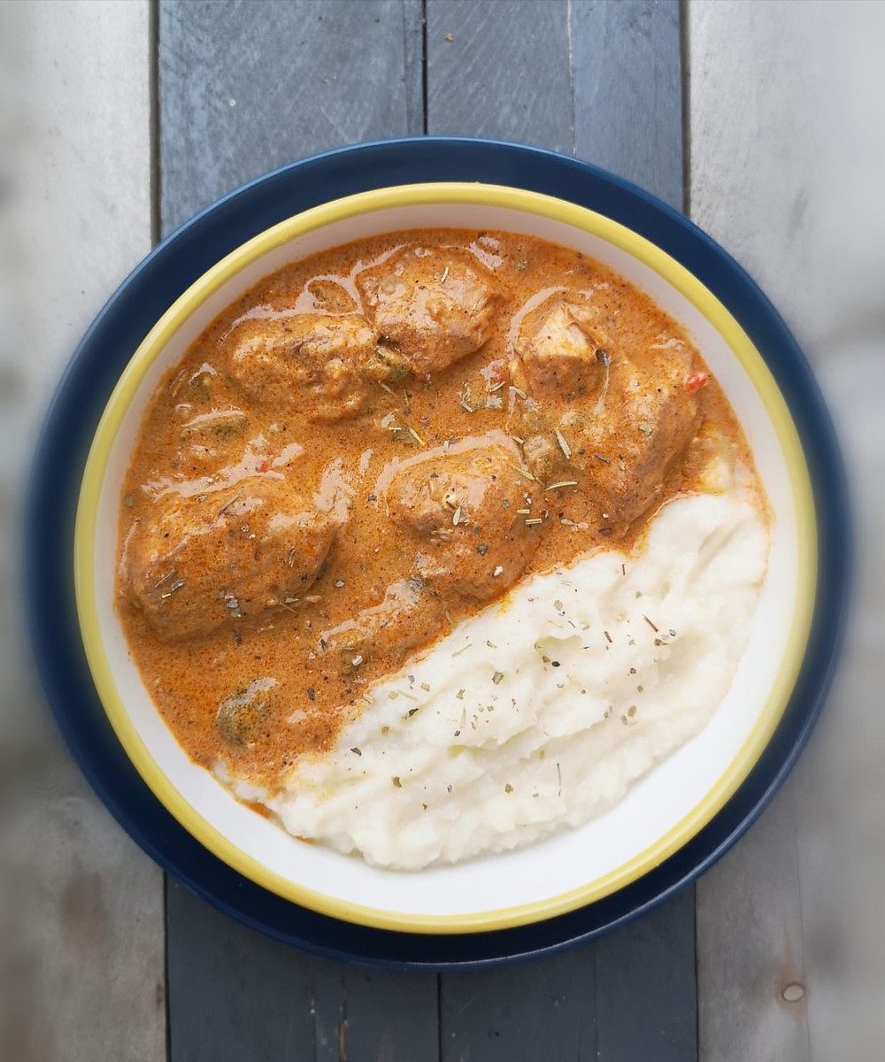 Low Carb Keto chicken paprikash with mashed cauliflower