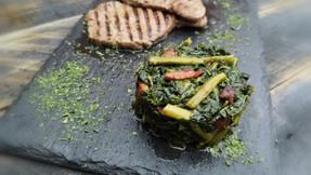 Garlicky kale & asparagus with crispy bacon