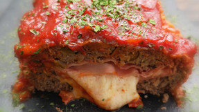 Spicy meatloaf stuffed with cheese & ham