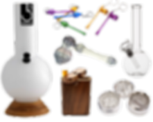 Bongs, grinders, glass pipes, cleaners, tobacco