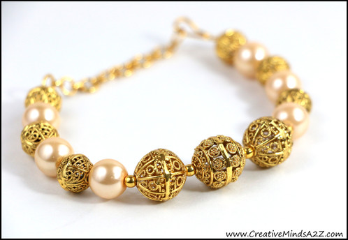 Beautiful Indian Bollywood Pakistan Gold beads and pearls bracelet