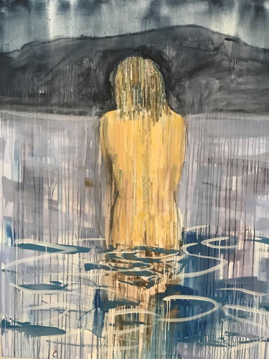 """Woman in Lake at Night  48"""" x 60"""""""