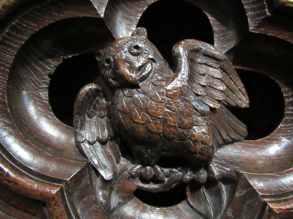Carved wooden owl, Lincoln Cathedral choir stalls