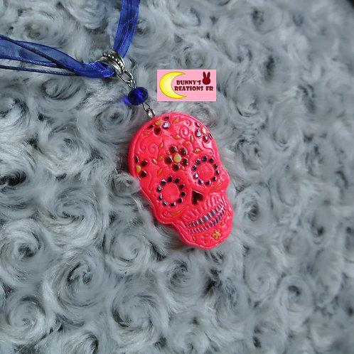 Collier Pink Muerte Dia de los Muertos Fête Mexique en porcelaine froide