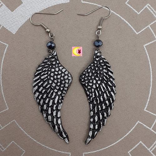 Boucles d'oreilles Black Angel Maxi Ailes d'ange noires gris argent porcelaine