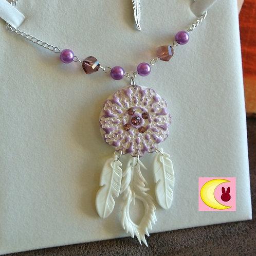 Collier Sautoir Purple Spirit Attrape-rêves en porcelaine froide