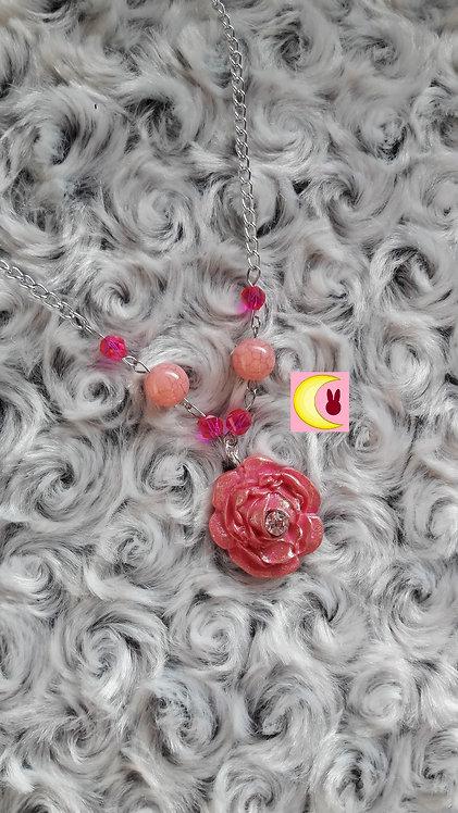 Collier Pink Rose en porcelaine froide