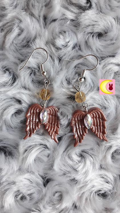 Boucles d'oreilles Copper Wings Ailes d'ange cuivre pailleté porcelaine froide